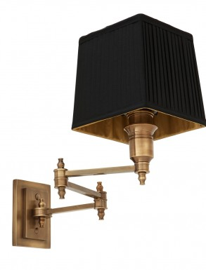 Wall Lamp Lexington Swing with Pleated Black Shade