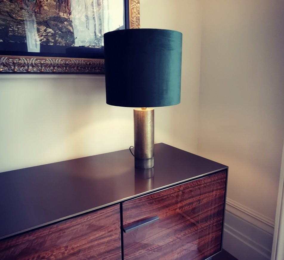 Dark Antique Brass Table Lamp and Green Shade Douro