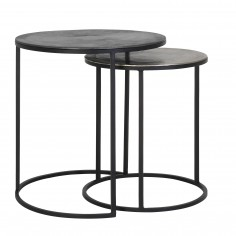 Metal Side Tables Set of 2 Lead and Antique Lead
