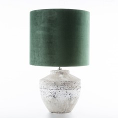 The Cotswolds Stone Lamp Base incl. Emerald Green Shade Medium