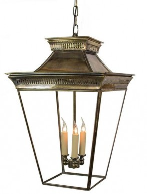 Large Pittville Hanging Lantern Distressed Antique Brass