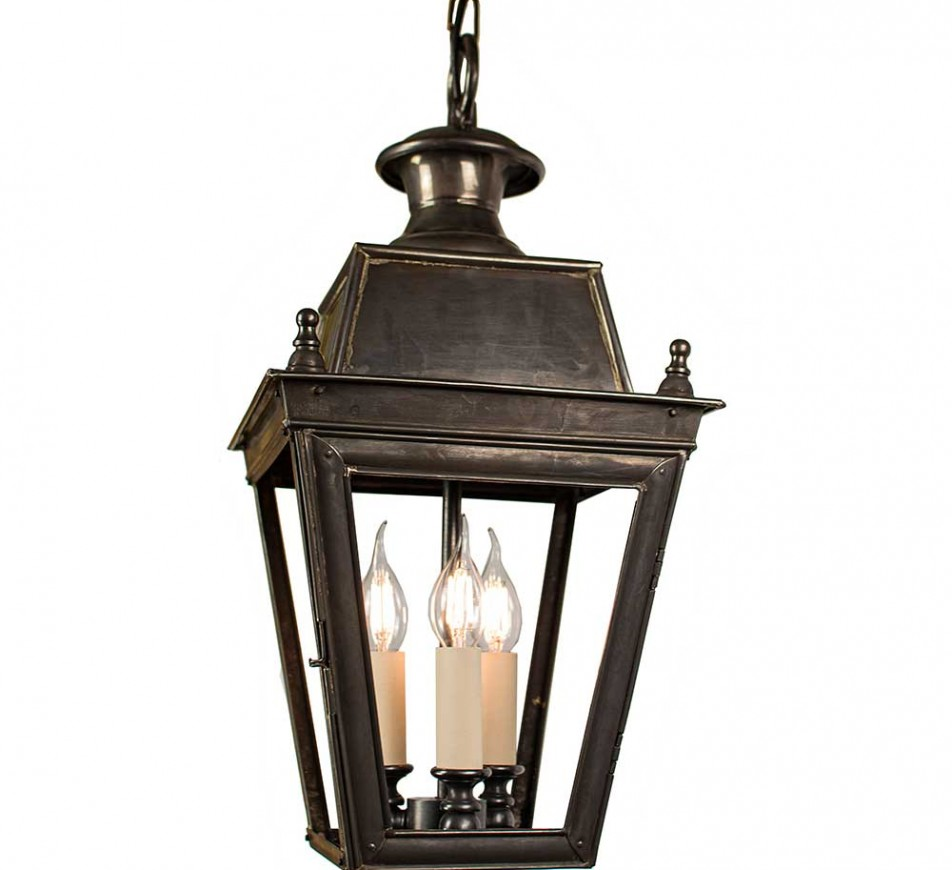 Battledown Hanging Outdoor Lantern 3 Bulbs Distressed Dark Antique Brass