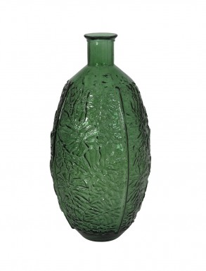 Patterned Emerald Green Glass Vase