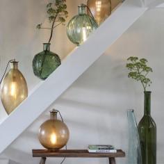 Patterned Emerald Green Glass Vase