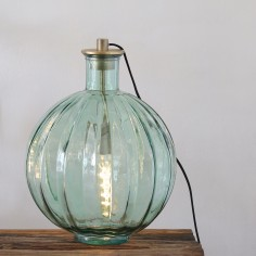Ribbed Glass Lamp Green with lamp attachment