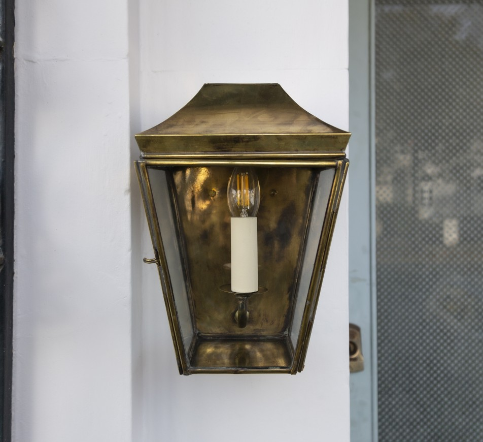 Kemble Outdoor Wall Lantern Small Antique Brass
