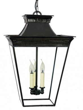 Large Pittville Hanging Lantern Distressed Antique Brass