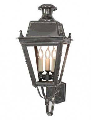 Battledown Wall Lantern Medium (Bottom Wall Mounted) 3 Lights Dark Antique Brass